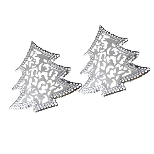 Cabilock 2 Pcs Christmas Napkin Buckle Bling Sparkle Xmas Tree Shaped Napkin Serviette Paper Rings Dining Seasonal Centerpiece for Home Kitchen Decor