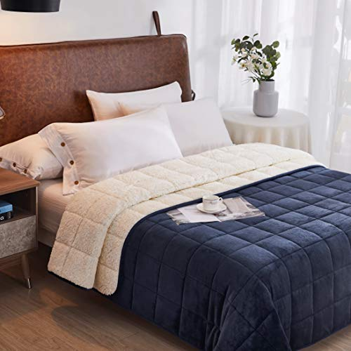 Sherpa Weighted Blanket King Size 25lbs 88x104 Navy/White | Duel Sided - Super Soft Fleece Material on Top & Cozy Plush Sherpa Fabric on Other Side | Couples Blanket for California King Beds