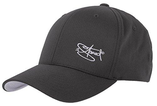 2Stoned Flexfit Cap Wooly Combed Dark Grey mit Stick, Größe S/M (56 cm - 58 cm), Basecap für Damen und Herren