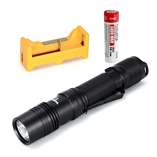 ThruNite TN12 2014 Edition 1050 Lumen Single CREE XM-L2 U2 LED EDC Flashlight Black & 1 x U1 Charger & 1 x 18650 3400Mah Battery (Cool White)