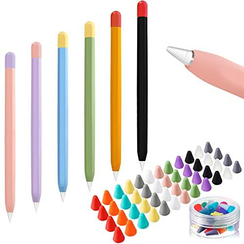 6 Stücke Silikon Hüllen Kappe, 6 Farben Dünne Bleistift Hülle Kompatibel mit Apple Bleistift 2. Generation und 48 Stücke Silikon Feder Abdeckung, 12 Farben