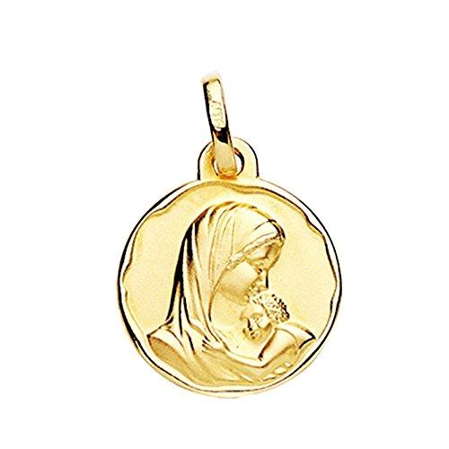 Medalla oro 18k Virgen Dulce Madre 18mm. amor maternal relieve redonda