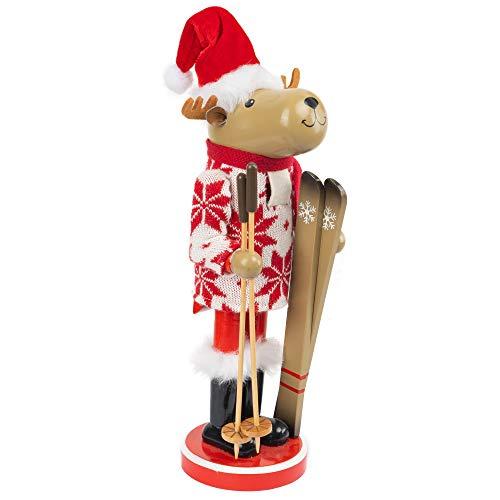 FUNPENY 17' Christmas Decorative Nutcracker, Handmade Wooden Reindeer Skier, Elk Toy Holiday Present, Festive Collectible Nutcracker, Winter Tabletop Christmas Decorations