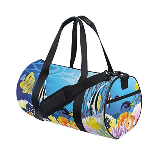 HARXISE Bolsa de Viaje,Ocean Decor Water Life Diferentes Tipos de Peces Arrecifes de Coral y esponjas Kids Nursery Theme Multi,Bolsa de Deporte con Compartimento para Sports Gym Bag