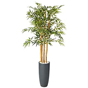 Nearly Natural 5818 5' Bamboo Artificial Tree in Gray Cylinder Planter, Green