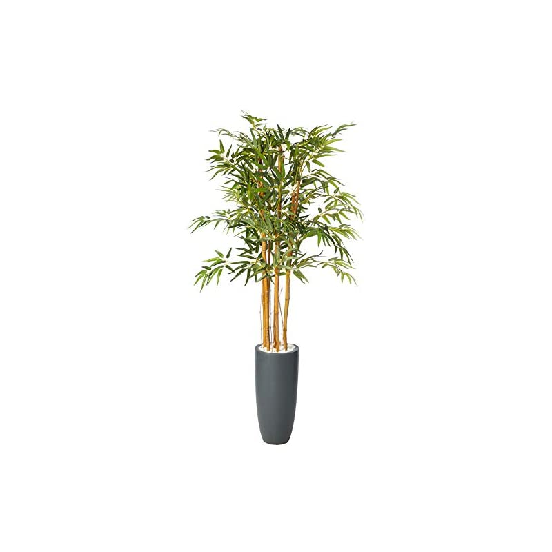 silk flower arrangements nearly natural 5818 5' bamboo artificial tree in gray cylinder planter, green