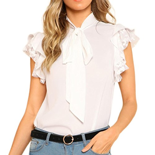 ESAILQ Damen Sommer Kurzarm T-Shirt V-Ausschnitt mit Schnürung Vorne Oberteil Tops Bluse Shirt(S,Weiß)