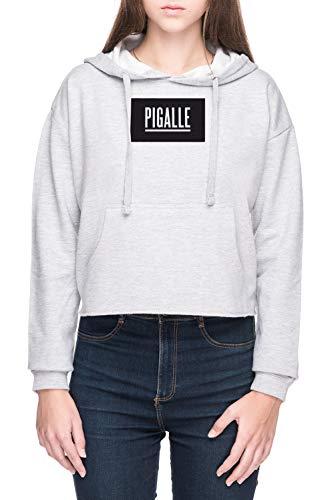 Vendax Pigalle Damen Bauchfreies Crop Kapuzenpullover Sweatshirt Grau Women's Crop Hoodie Grey