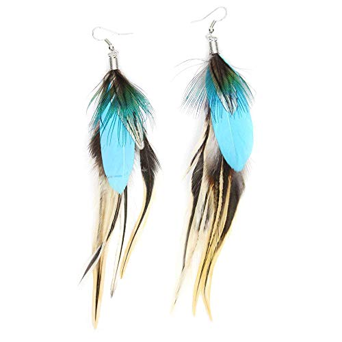 KISSPAT Feather Earrings Handmade Natural Long Feather Dangle Earrings for Women