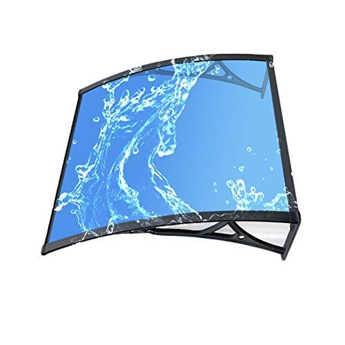 Toldo para puerta, panel de policarbonato resistente a la lluvia contra todos los elementos climáticos, cobertizo de techo, multiunidad conectable (color: azul + negro, tamaño: 100 x 270 cm)