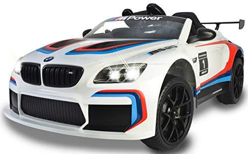 Jamara 460473 Ride-on BMW M6 GT3 Blanco - Potentes Motores de propulsión y batería para Larga duración de conducción, 3 velocidades, Amortiguador, Conector AUX, Anillo de Goma Ultra-Grip, Faros LED