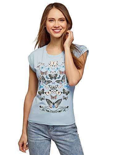 oodji Ultra Mujer Camiseta de Algodón con Estampado y Pedrería Metálica, Azul, ES 42 / L