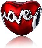 Annmors Abalorios Charms Colgantes de Amor Corazón Forma Cuentas Plata de Ley 925 con Circonita cúbica Transparente Compatible con Pulsera Pandora & Europeo, Charms para Mujer Niña
