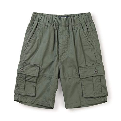 Boy's Lightweight Pull on Cargo Shorts, Athletic Casual Slacks Army Green Tag 120-5-6 Years
