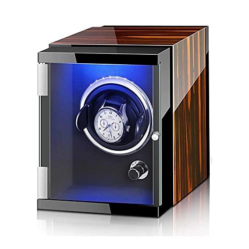 UOOD Binder de Montre Automatique avec Moteur Silencieux 5 Modes de Rotation, étui en Bois Verni de Cuisson de Piano de Luxe pour 2 Montres à Poignet Excellente Finition (Color : Ebony Wood+Black)