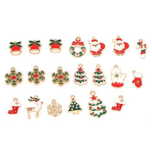 Mini colgante de Navidad, árbol de Navidad, copos de nieve, guirnalda para remaches, 20 unidades [mezcla]