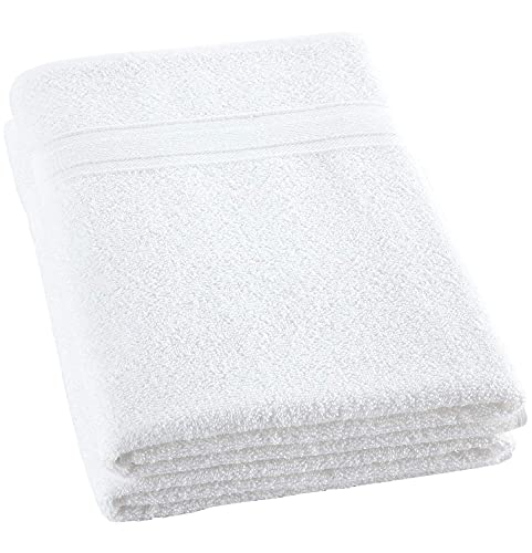Lightweight White Bath Towels Quick-Dry High Absorbent 100% Turkish Cotton Lightweight Towel for Bathroom, Guests, Pool, Gym, Camp, Travel, College Dorm, Shower (White, 2 Pack Bath Towel)