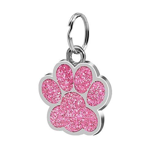 Fashion Footprints Pet Anhänger Dekor Schöne Haustier Schmuck Beliebte Glitter Footprint Personalausweis Hundemarke Haustier Zubehör - Pink