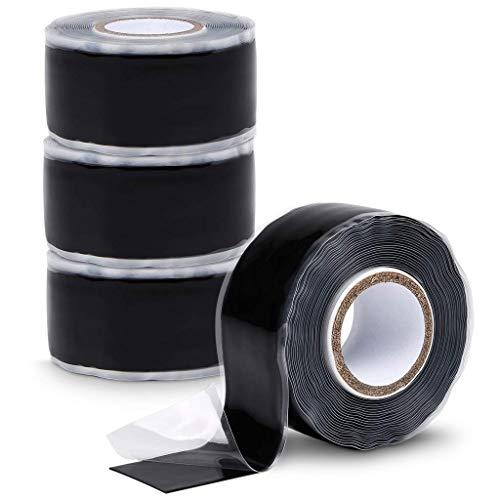 ABSINA selbstverschweißendes Isolierband 25 mm x 3 m - 4er Pack Silikonband schwarz für Wasser & Luft - Dichtungsband, Silikon Tape, Reparaturband, Elektro, Isoband Elektriker, Industrieband