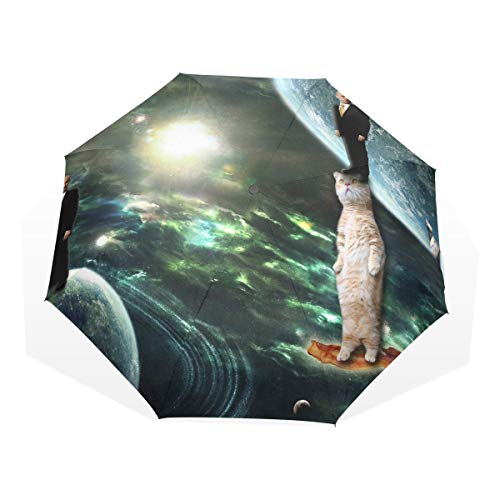 Travel Umbrellas for Men Putin On A Cat On A Bacon In Space Windproof Portable Umbrella Compact Rain & Wind Resistant Compact and Lightweight for Business and Travels
