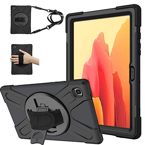 Samsung Galaxy Tab A7 10.4 Inch 2020 Case, Heavy Duty Rugged Shockproof Drop Protection Case with 360 Stand, Handle Hand Strap & Shoulder Strapfor Galaxy Tab A7 10.4 Inch SM-T500/T505/T507 (Black)