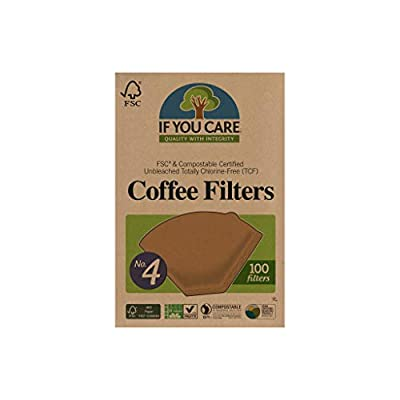 If You Care Unbleached Coffee Filters, #4 - Pack of 100 – Cone Shaped, All Natural, Biodegradable, Compostable, Chlorine Free