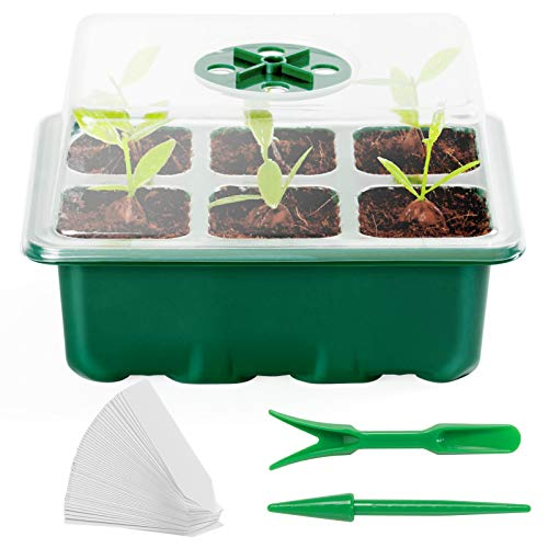 AQUEENLY 10-Pack Seed Starter Tray, Seed Starter Kit, 60 Cells Seed Starter Tray with Dome and Base Hand Tool Kits for Greenhouse Plant Propagation