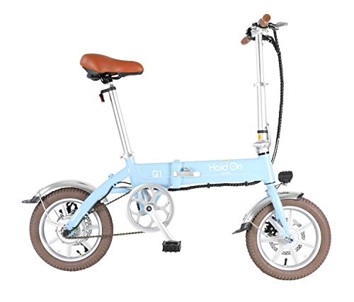 "HoldOn Q1J Folding Electric Assist Bicycle with Certified Model, 14"" Sky Blue"