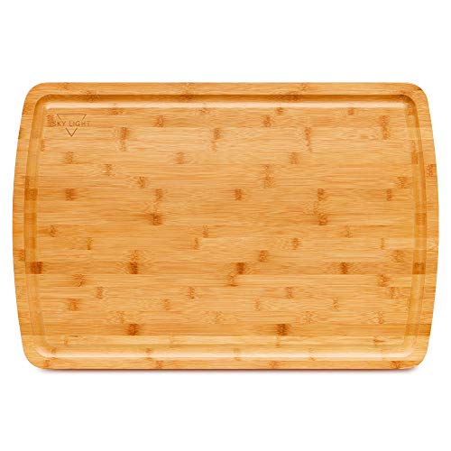 SKY LIGHT Extra Large Cutting Board, 30 x 20 inch XXL Organic Pre-Oiled Bamboo Chopping Board with Juice Groove for Turkey, Fruit & Vegetables, Kitchen Butcher Block