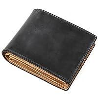 [ラファエロ] ブライドルレザー 二つ折り財布 メンズ (ロイヤルブラック)