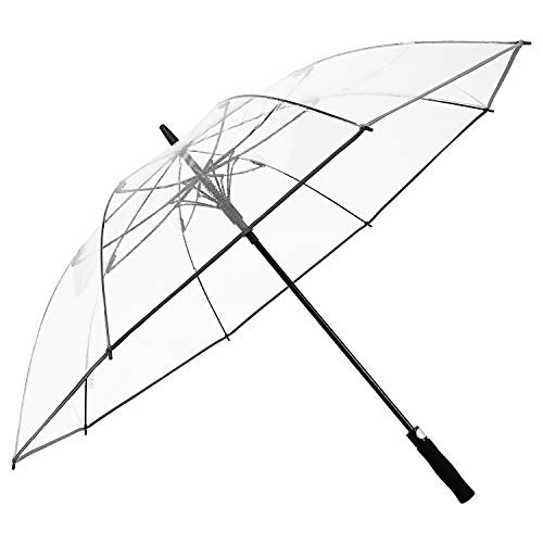 G4Free 62 inch Clear Golf Umbrella Transparent Large Stick Long Umbrella Oversized Auto Open Rain Umbrella Windproof Waterproof with Sleeve for Adult Women Men