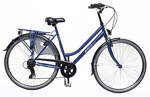 Amigo Moves - Bicicleta de ciudad para mujer de 28 pulgadas, apta a partir de 180-185 cm, cambio Shimano de 6 velocidades, con freno de mano, iluminación y soporte, color azul