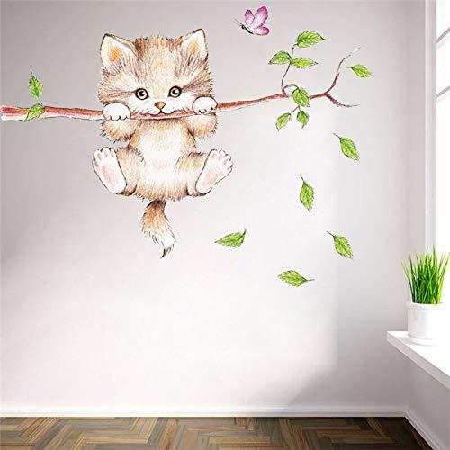 YUIOP Lindo gato mariposa rama de árbol pegatinas de pared para habitaciones de niños decoración del hogar coon animales tatuajes de pared carteles de bricolaje pvc mural