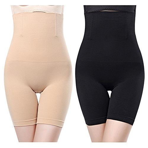 2pcs Noir + Chair Gaine Amincissante Ventre Plat Panty Gainant Culotte Gainante Sculptante Minceur Taille Haute Invisible,2pcs(noir+chair),M/L(34/38)