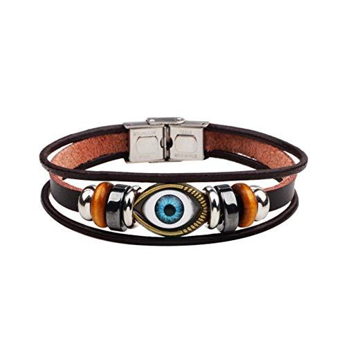 MiniJewelry Hamsa Eye of Fátima - Pulseras de cuero trenzadas para hombres y mujeres ajustables