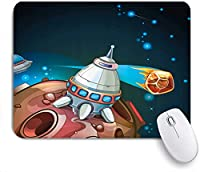 KAPANOU マウスパッド、漫画宇宙船惑星宇宙テーマロケット星銀河宇宙イラスト おしゃれ 耐久性が良い 滑り止めゴム底 ゲーミングなど適用 マウス 用ノートブックコンピュータマウスマット