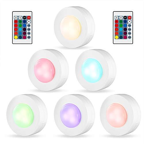 Kohree RGB Schrankleuchten LED Nachtlicht Bunt mit Fernbedienung Kabinett Beleuchtung Unterbauleuchte Dimmbar led licht Batteriebetrieben 16 Farben 4 Lichtmodi Timer für Kleiderschrank Treppe Lampe