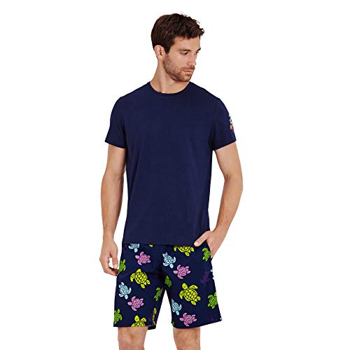 Vilebrequin Men Cotton T-Shirt Tortues Multicolors, Navy, XXL