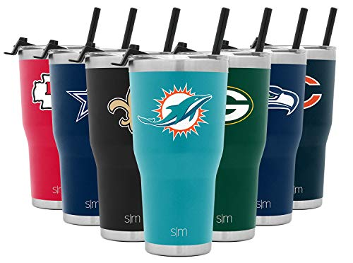 Simple Modern NFL Miami Dolphins 30oz Tumbler with Flip Lid and Straw Insulated Stainless Steel Travel Mug Classic