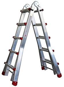 Escalera Articulada Telescópica Plegable 5+4 en 2 Tramos Profesional de Aluminio. Escada Articulada Telescópica (Hasta 18 Peldaños/Até 18 degraus)