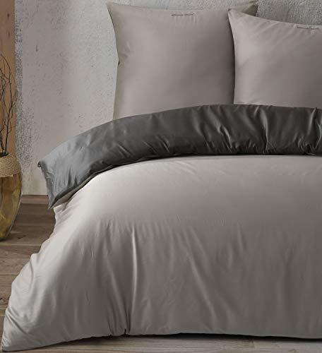 Leonado Vicenti - 100% Baumwolle Edel Satin Uni Einfarbige Wende Bettwäsche Set Kissen Bezug Schlafzimmer mit Reißverschluss, Größe:135x200 + 80x80, Farbe:Silber - Anthrazit