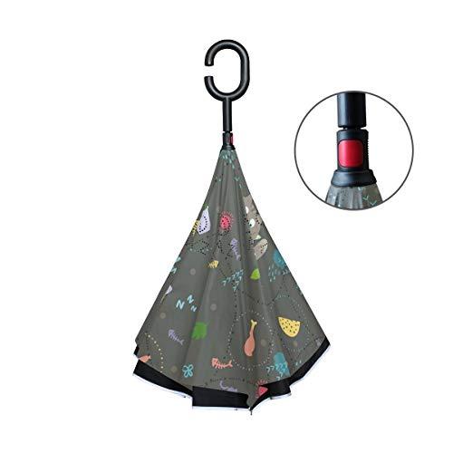 rodde Double Layer Inverted Reverse für Regen Outdoor Windproof Umbrellas Automatik mit C-förmigen Griff Katzenfutter
