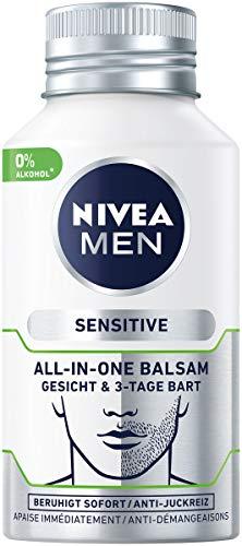 Nivea Men Sensitive All-In-One Balsam Gesicht & 3-Tage Bart, 1er Pack (1 x 125 ml), beruhigende Gesichtspflege, Feuchtigkeitscreme mit Kamille & Mandelöl