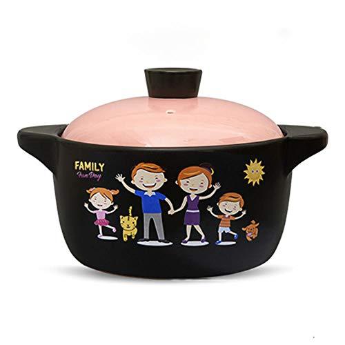 CeráMica Hot Pot Cazuela Olla De Sopa Casserole High Tempere Crock Pot Sopa Pot Ceramic-3.0L