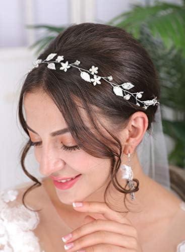 Sither Bridal Headband Wedding Silver Hair Band Vintage Bridal Headband Hair Accessories Hair product image