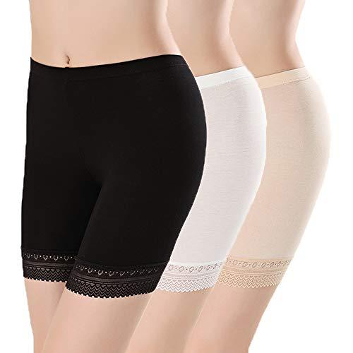 L&K-II 3er Pack Damen Panties mit Spitze 3414 S/M Mehrfarbig