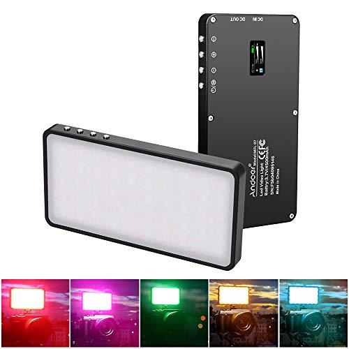 RGB Luce LED, Andoer LED RGB portatile Luce di Riempimento video, Luci Dimmerabile 3000K-6500K, schermo OLED, 4500mAh, Cavo Tipo-C Incluso