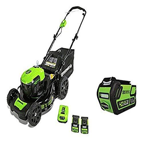 Greenworks 21-Inch 40V Brushless Cordless Mower, Two 2.5 AH Batteries and one 4.0 AH Battery -  Sunrise Global Marketing, LLC