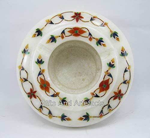 Cottage Handicrafts - Soporte de mármol blanco redondo de 4,5 pulgadas con incrustaciones de piedras semipreciosas
