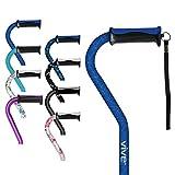 Vive Walking Cane - for Men & Women - Portable, Adjustable Offset Balance Stick - Lightweight & Sturdy Mobility Walker Aid for Arthritis, Elderly, Seniors & Handicap (Blue Geometry)